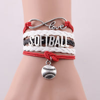 Infinity Love SOFTBALL Bracelet, Charm Leather Wrap, 3 Variations