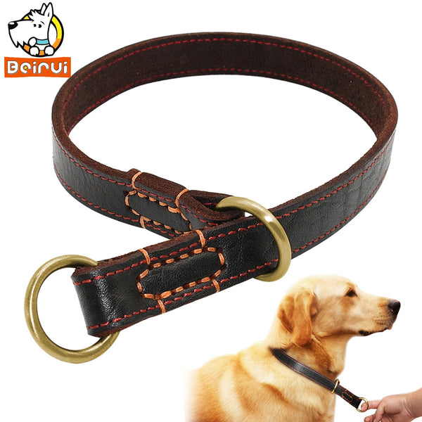 Dog Collars, Real Leather, Medium, Large Dogs, Choke Training Collar, Labrador, German Shepherd