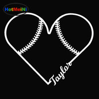Softball Heart Shaped Car Stickers, Window, Door Vinyl Decal, 10 Colors