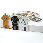 Poodle Teddy Dog Pendant Key Chains For Women Men Girls Silver Color Alloy Metal Key Ring Car Keychain Bag Charm Keyring Trinket