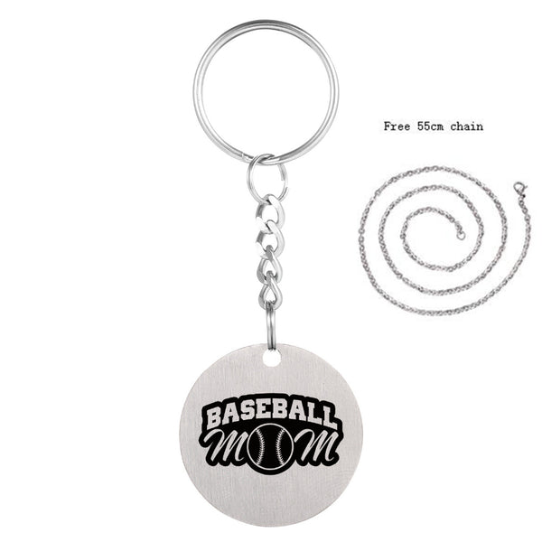 Softball Stainless Steel Key Chain, Sport Lover Key Chain With Chain, 7 Variations, FREE Shipping