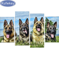 German Shepherd 4 piece 5D DIY Diamond Embroidery, Diamond Painting, Cross Stitch, Diamond Mosaic,