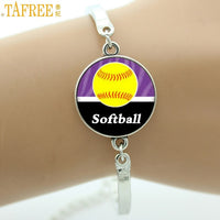 Keep Calm and Love Softball Bracelet, Glass Cabochon, Sports Lovers Gifts, 9 Variations