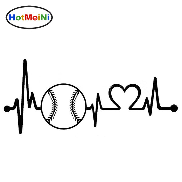 Softball Heartbeat Lifeline Car Sticker, Fine Decals, Can Be Attached To Any Flat Surface, 13 Variations, FREE Shipping