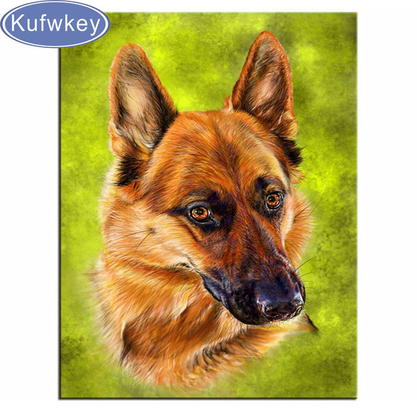 German Shepherd 5d Diy Diamond Painting, Cross Stitch, Diamond Embroidery, Diamond Mosaic, FREE Shipping