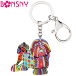 Shih Tzu Acrylic Cartoon Key Ring, Pekingese Key Chains,  Car Key, Handbag Wallet Charms