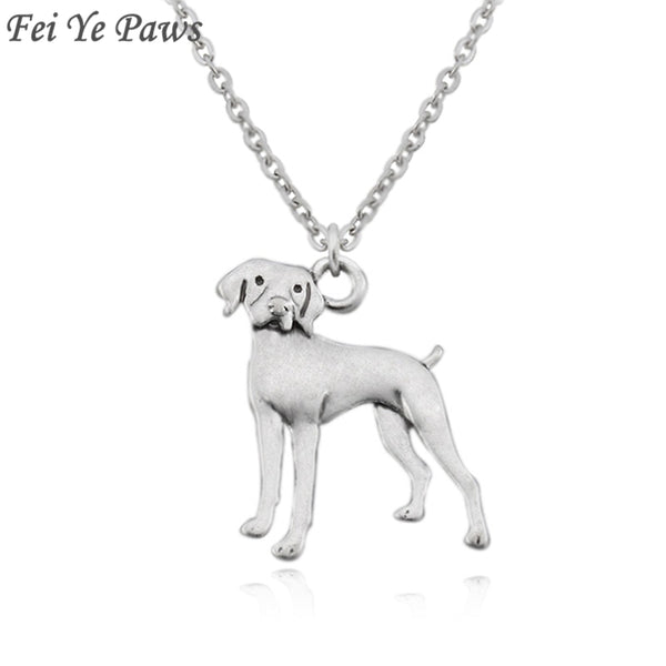 German Shorthaired Pointer Vintage Silver Boho Vizsla  Dog Charm Statement Necklace Long Chain For Women Men Jewelry Choker