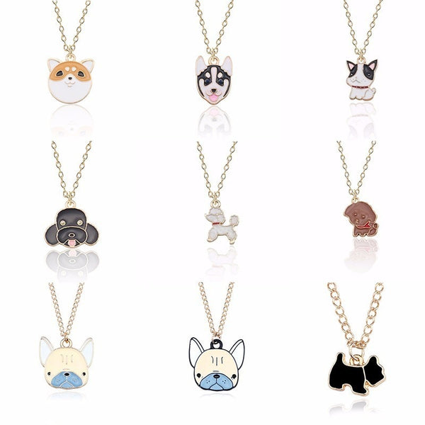 Cute Dog Necklace For Women Animals Puppy Doggy Pendant Kawaii Shiba Inu Husky Poodle Necklaces&Pendants Christmas Xmas Jewelry