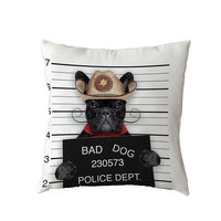 Bad Dogs Cushion Covers French Bulldog Pug Poodle Pillow Cover 45*45cm Polyester Peach Skin Pillowcase Home Sofa Chair Decorate