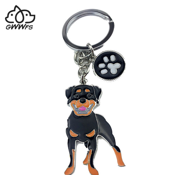 Rottweiler dog pendant, key chains for men, women, silver color, alloy metal, bag charm, male, female car keychain key ring holder