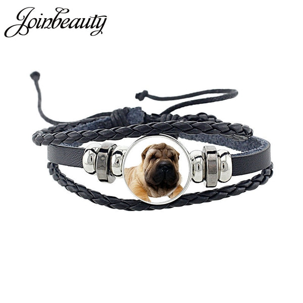 Rottweiler Glass Cabochon Bracelet, Sheltie, Shar Pei Dog, Multilayer Leather Bracelet, Fashion Accessories, Jewelry