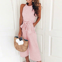 Jumpsuits for Women, Striped, Summer O-neck Bowknot Pants, Playsuit, Sashes, Pockets Sleeveless Rompers, Overalls, Sexy Office Lady