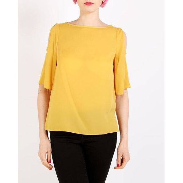 Yellow Cold Shoulder Sheer Top