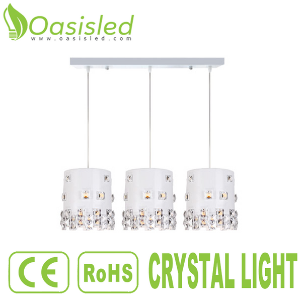 3-Light Cylinder Pendant Ceiling Crystal Light E14 Bulb 40W 220V CLFS17X19-40WX3
