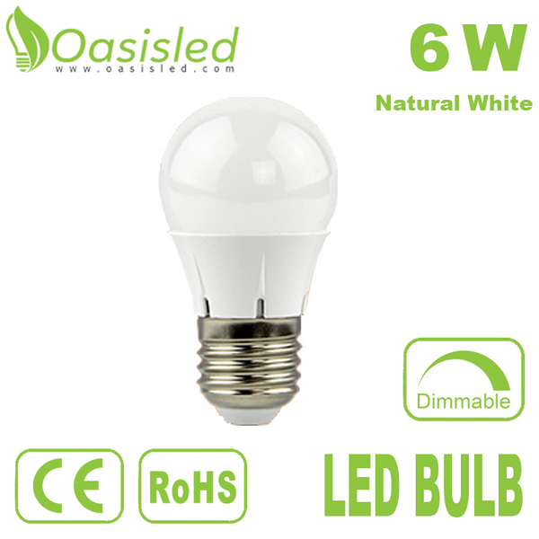 E27 Dimmable LED Bulb 6W AC100-240V Natural White BUDK55-105-6WN-D