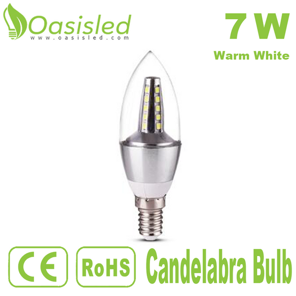 360 Degree Lighting Angle E14 LED Candelabra Bulb 7W Warm White CBSD7WY-YSJP