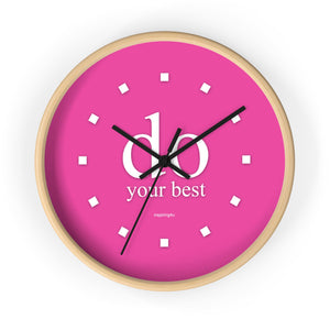 "Pink Wall Clock ""do your best"""