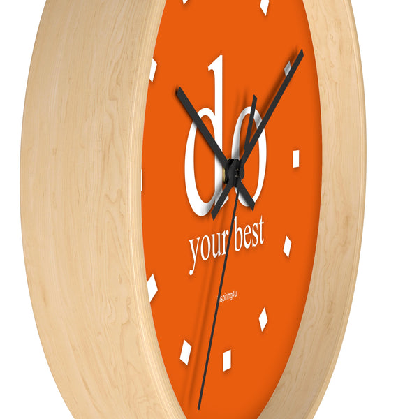 "Orange Wall Clock ""do your best"""