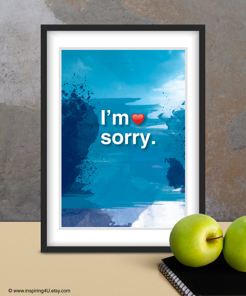 I'm sorry. Ho'oponopono healing Sentence. Mantra meditation quote poster. Typography poster. Wall decor. Home decor. Gift (Po-062)