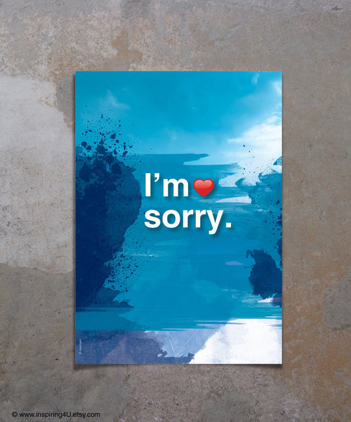 A3. I'm sorry. Ho'oponopono healing Sentence. Typography mantra meditation quote poster. Inspirational poster. Home Wall decor. (Po-A3-062)