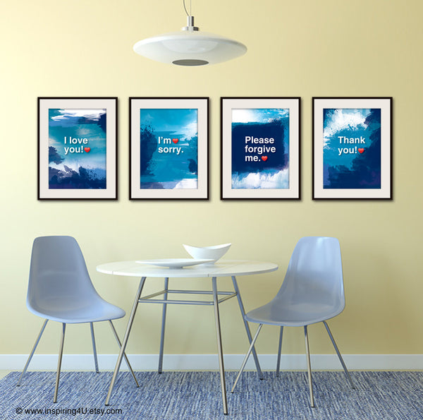 SET of 4 posters. Ho'oponopono healing Sentences. Meditation quote poster. Typography posters. Wall decor. (Po-065)