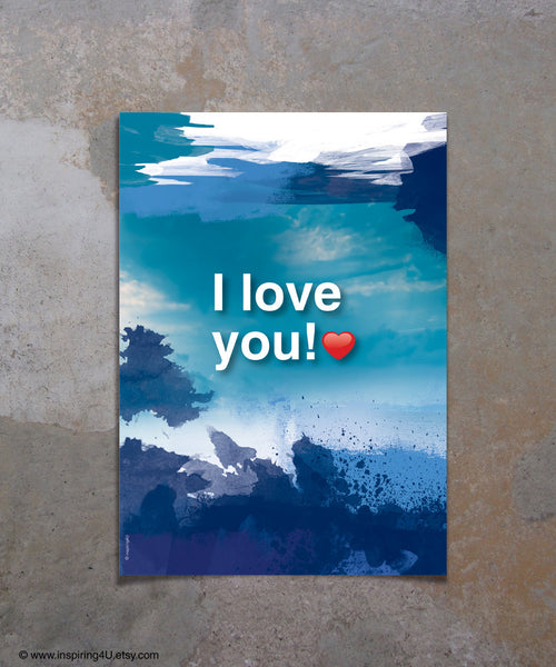 """I LOVE YOU!"" quote poster. Ho'oponopono healing Sentence poster. Meditation quote. Typography poster. Wall decor. Home decor (Po-061)"
