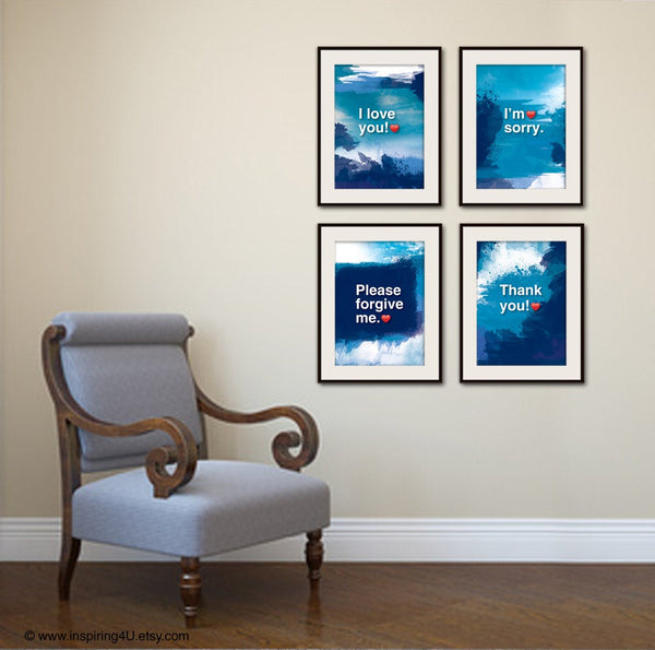 4XA3. Ho'oponopono healing Sentences. SET of 4 Mantra meditation quote poster. Typography posters. Wall decor. Home decor. Gift(Po-A3-065)