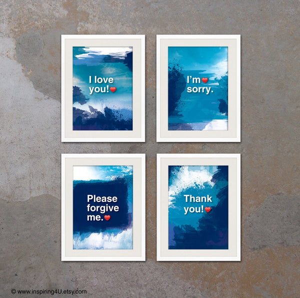 SET of 4 Ho'oponopono Mantra meditation quote posters. Self-Healing Sentences. Typography posters. Wall decor. Home decor. (Po-065)