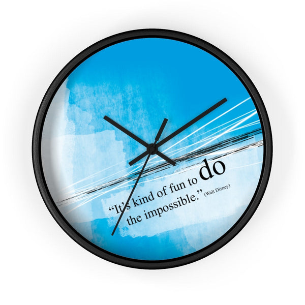 "Office wall decor clock with motivational quote. Wall clock ""...do the impossible"" (Walt disney). Gift for her. Gift for him."