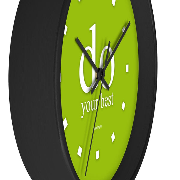 "Green wall clock. Special gift for him. Office wall decor clock with motivational quote ""do your best""."