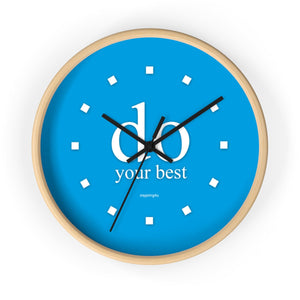 "Light Blue wall clock. Office wall decor clock with motivational quote. Special gift for him. ""do your best"""