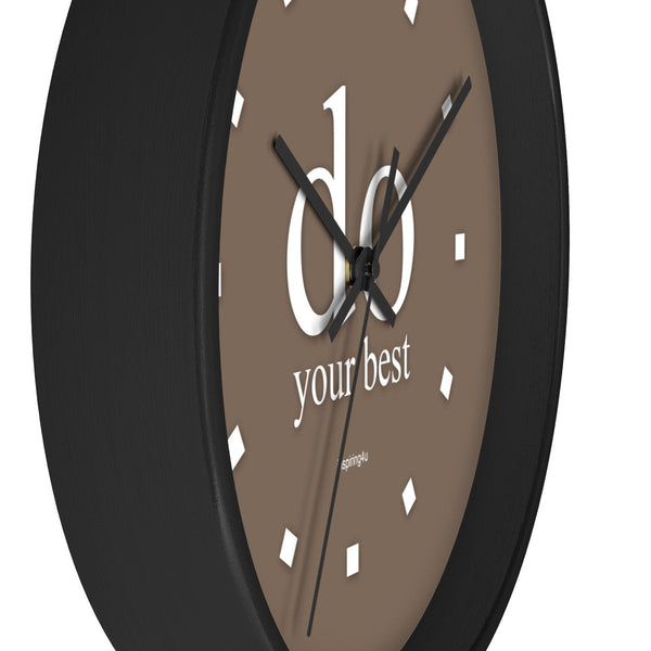"Brown wall clock. Special gift for him. Office wall decor clock with motivational quote. ""do your best"""