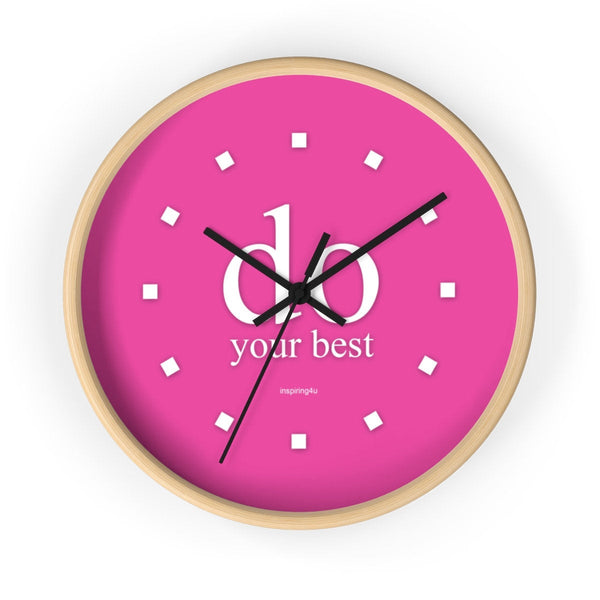 "Pink wall clock ""do your best"". Special gift for her. Office wall decor clock with motivational quote."