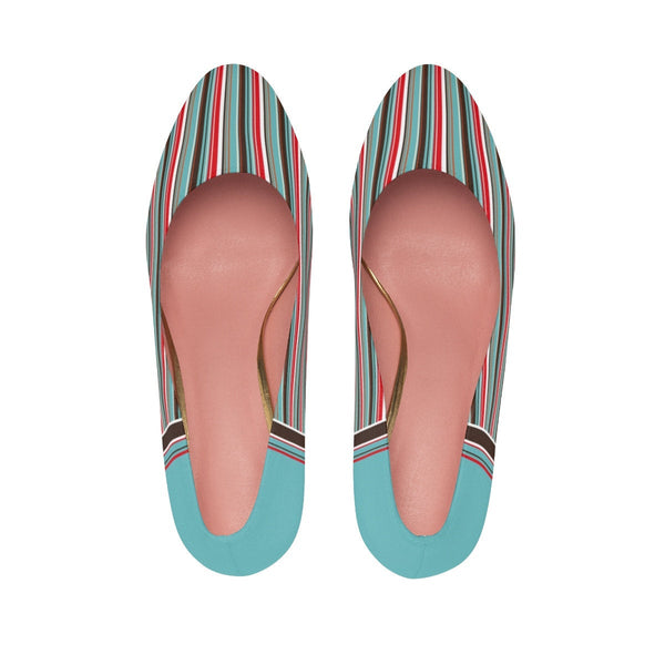 Women's High Heels Classic Shoes, Turquoise Stripes. Unique Shoes.