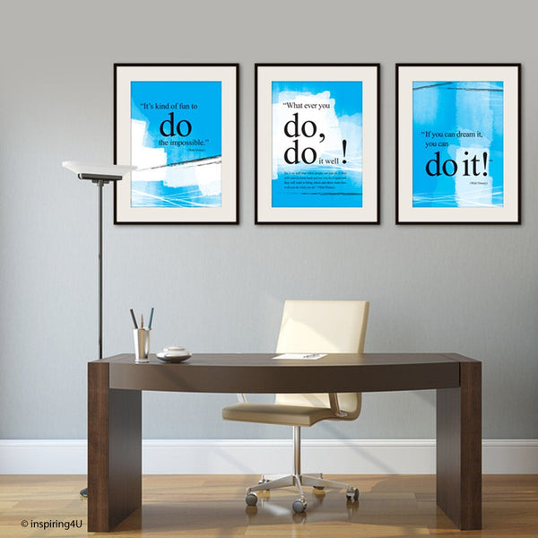 SET of 3 Motivational poster, Walt disney quotes poster, If you can dream it you can do it, Inspiration print, Motivational office décor.