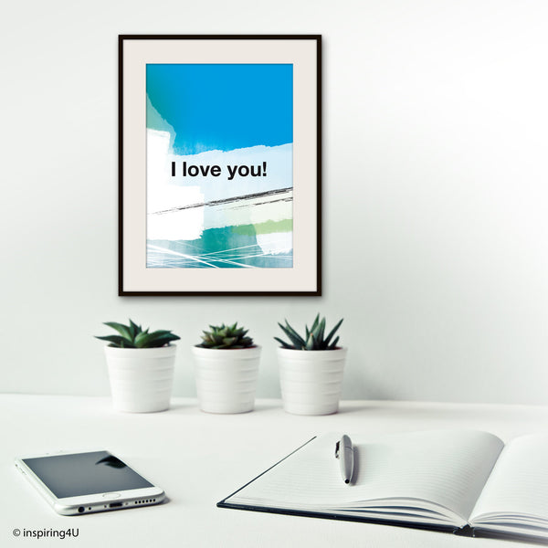I LOVE YOU. Ho'oponopono healing Sentence poster. Mantra meditation quote poster. Typography poster. Home Wall decor. Gift (Po-065)