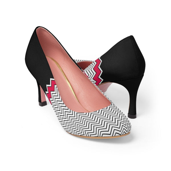 Women's Classic High Heels. Black and White Texture. Elegant Shoes. Formal Shoes. Inspiring Unique Shoes.