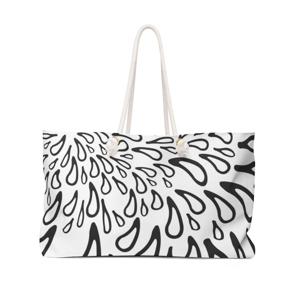 Weekender Bag for Women. Durable Bag for Beach. Black and White Texture. Weekend bag Gift for her.
