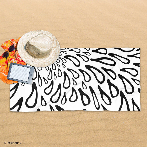 Girl Super Soft Sea Beach Towel. Black and White Texture Cotton Pool Towel. Gift for Her.