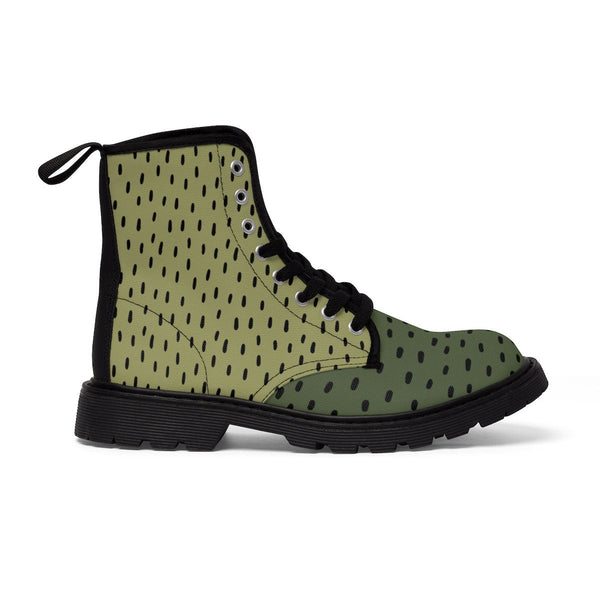 Olive Green Color Lace Up Boots. Women's Canvas Boots. Fashion Hiking Boots. Women's Shoes. Walking Boots for Women.