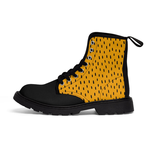 Yellow & Black Women's Canvas Boots. Fashion Hiking Boots. Yellow Women's Shoes. Walking Art Boots for Women. Lace Up Boots.