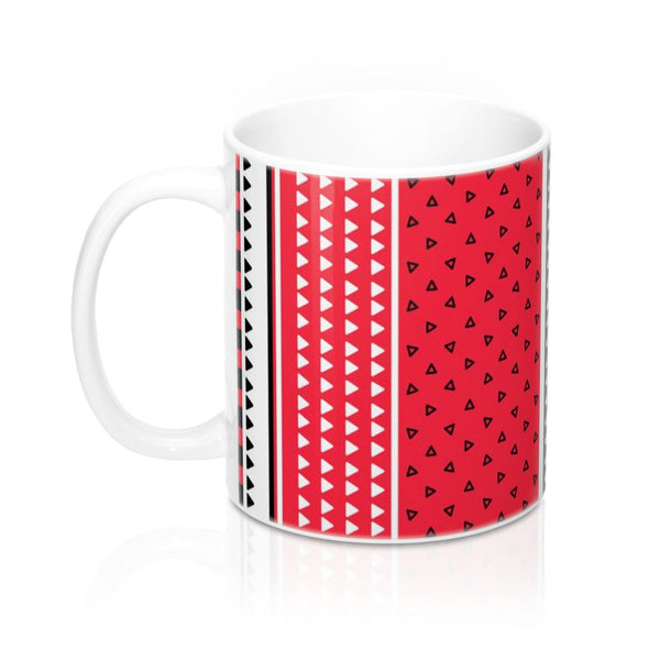 Red Ceramic coffee mug, Triangles pattern mug, Office tea mug, Black white stripe coffee mug, Geometric Mug with handle, Gift for her