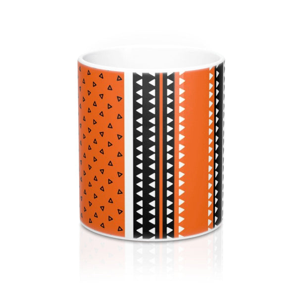 Orange Ceramic coffee mug, Triangles pattern mug, Office tea mug, Mug with handle, Stripe mug, Geometric mug, Office coffee mug,Gift for her