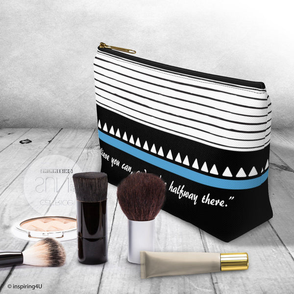 Black & White Inspirational Accessory Pouch. Cosmetic travel bag. Special Gift for her. Cosmetic Travel Bag With Inspirational Quote.
