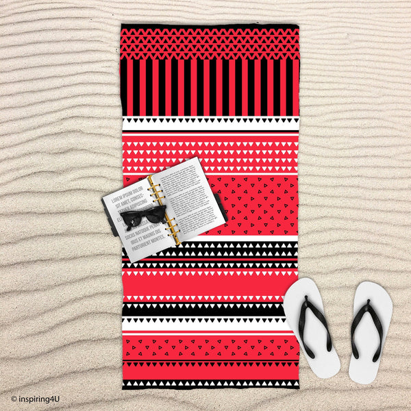 Red Super Soft Sea Beach Towel. Cotton Towel. Black and White Texture Pool Towel. Gift for Her.