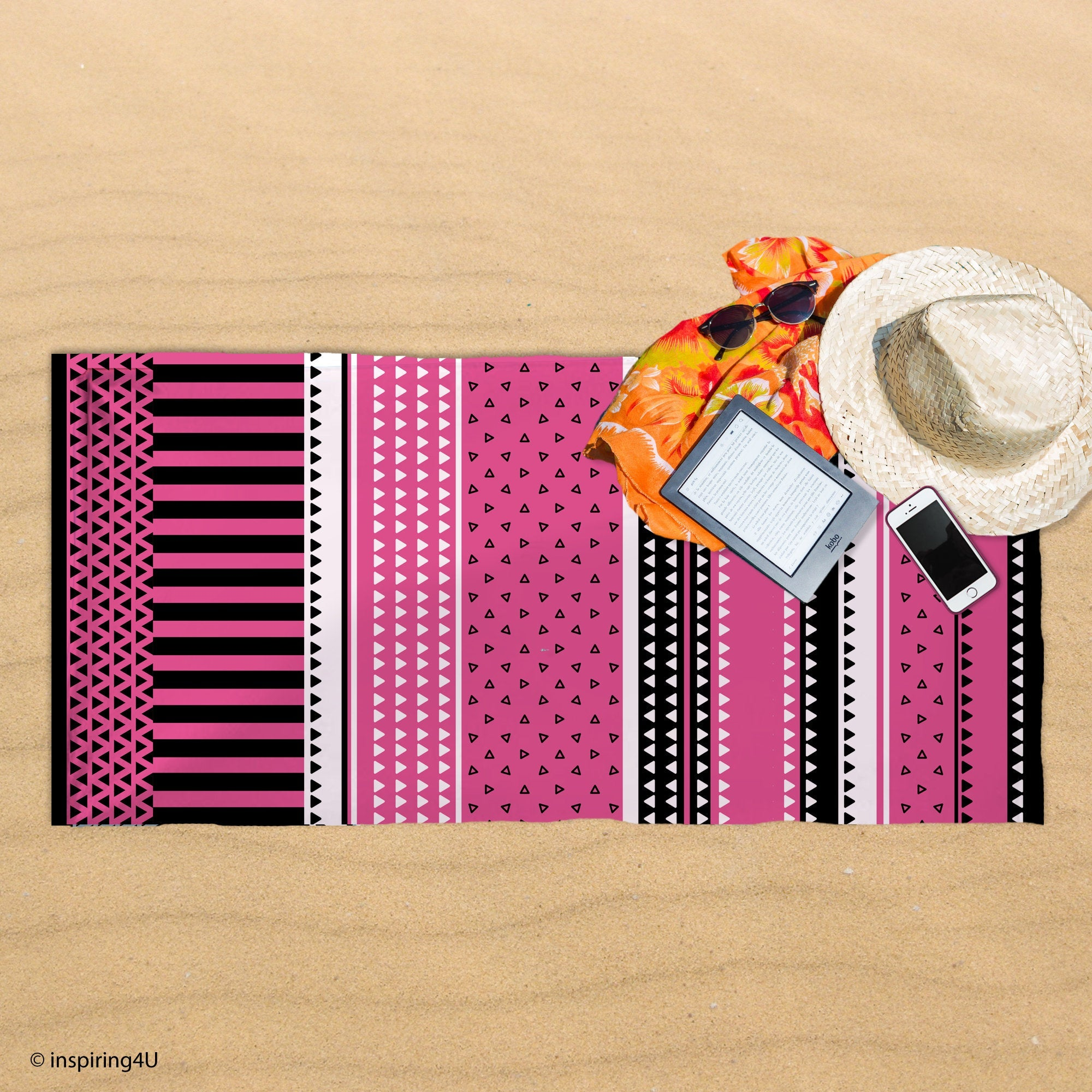 Pink Cotton Towel. Super Soft Sea Beach Towel. Black and White Texture Pool Towel. Gift for Her.