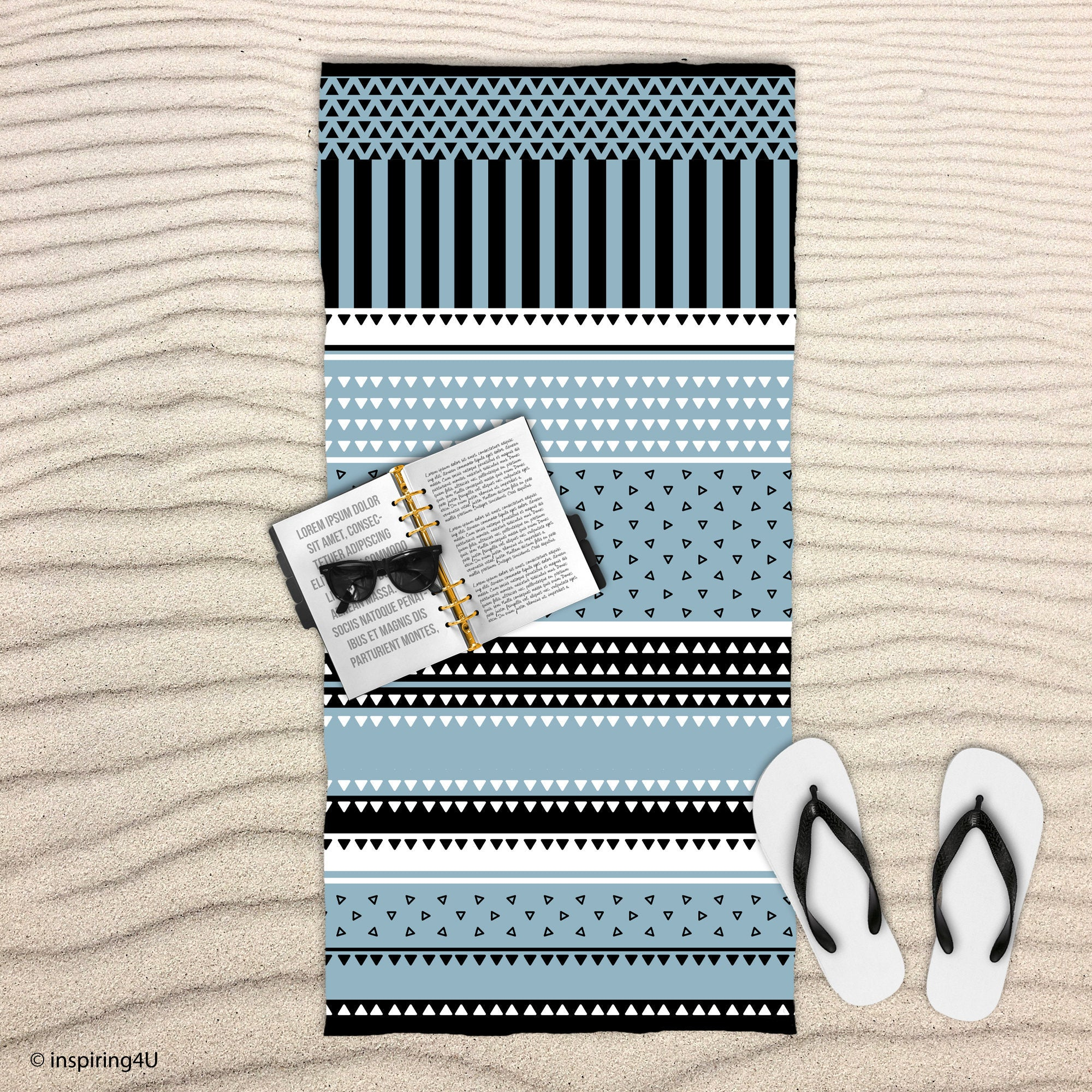 Grayish Blue Cotton Towel. Super Soft Sea Beach Towel. Black and White Texture Pool Towel. Gift for Her.