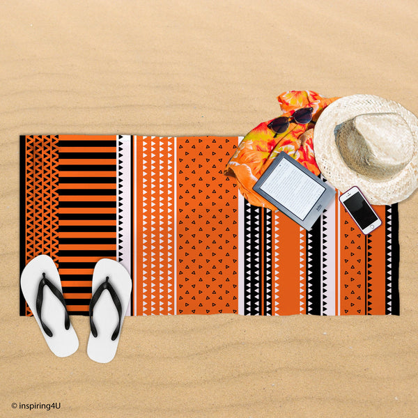 Orange Cotton Pool Towel. Super Soft Sea Beach Towel. Black and White Texture Towel. Gift for Her.