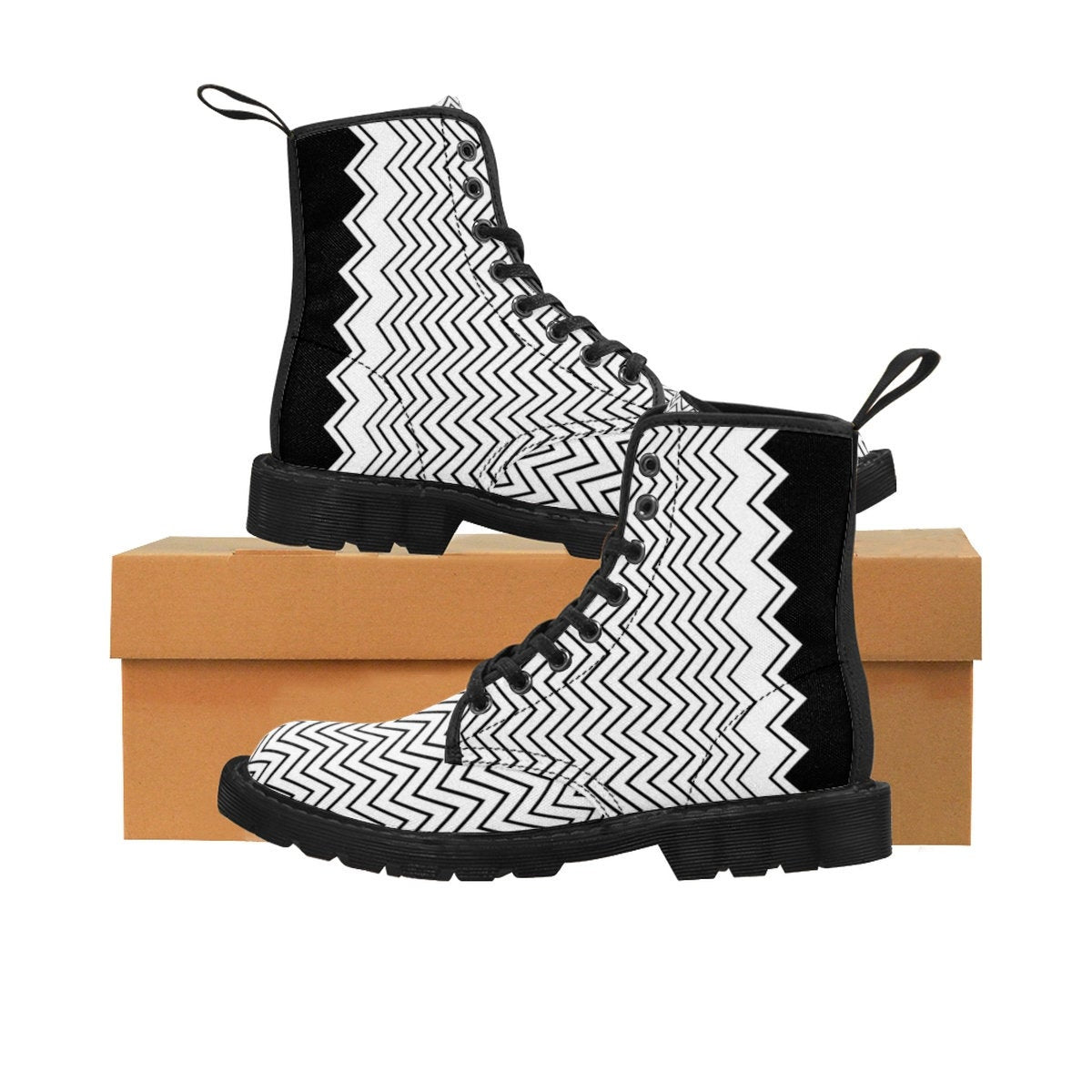 Women's Special Pop Art High top Canvas Shoes. Black & White Women's Military Boots. Unique Lace Up Boots. Modern Art New fashion Shoes.