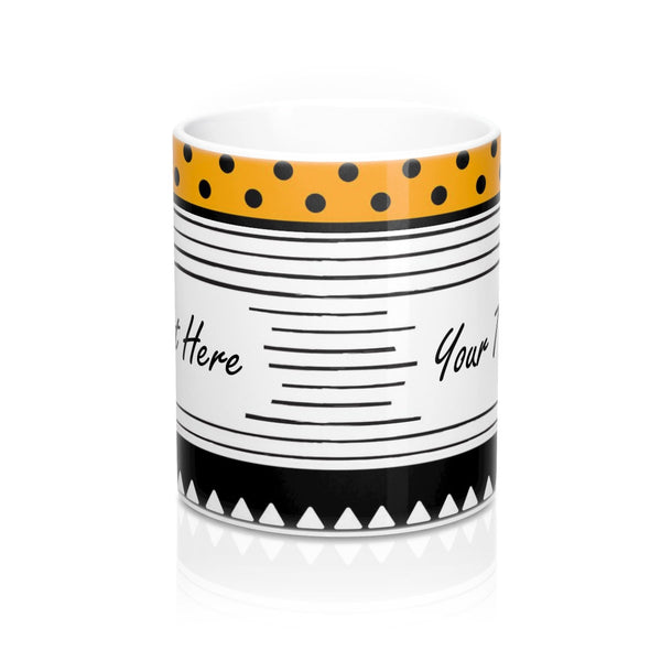 Personalized coffee mug, Custom gift stripe mug, Custom Black white mug, Create your own mug, Design your own tea ceramic geometric mug,